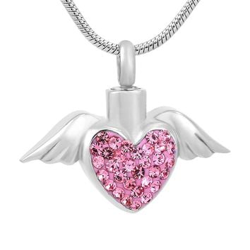 Angel Wings Heart Pink Crystal Cremation Urn for Pets  Pendant Necklace
