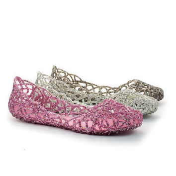 Pauleen02 Glitter Jelly Webbed Cut Out Slip On Flats