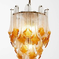 Large Murano Regato Glass Chandelier with Brown and Clear Glass