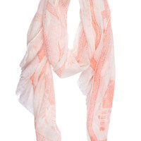 Tea Party Printed Scarf in Peach