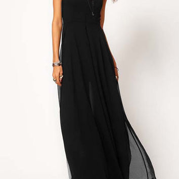 Black V-Neck Side Split Chiffon Long Dress