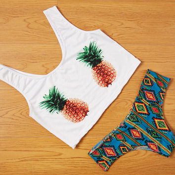 Pineapple Swimsuit swimwear Set Sports Tank Top Summer Gift 46
