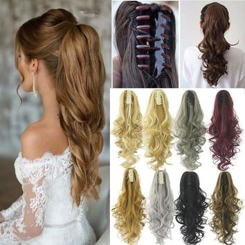 18/21 Inch Ponytail Synthetic Claw Ponytail Clip in Pony Tail Hair Extension Curly/Straight Hair