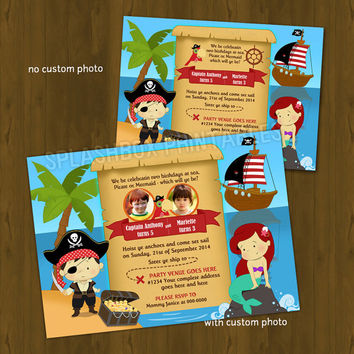 Pirate and Mermaid BIRTHDAY invitation - Joint boy and girl party with pirate ship Birthday Invitation  -with or without Custom Photo