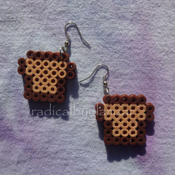 Kawaii French Toast Earrings - Perler Bead Jewelry