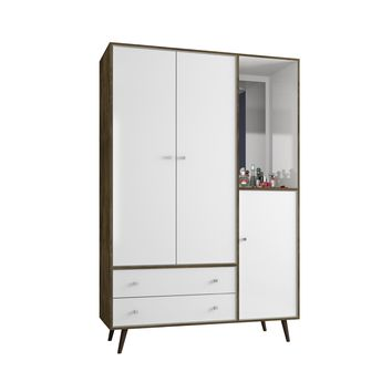 "47.83"" Mid Century- Modern Armoire w/ Mirror, 4 Shelves, 2 Draweres & Hanging Rod-Rustic Brown, White"