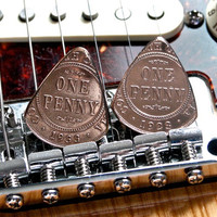 Hand Made Collectible Coin Guitar Pick Set - 1923 & 1933 Australian Copper Pennies