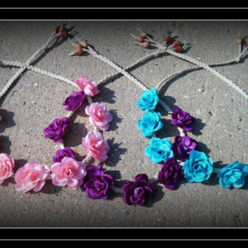 rose, headband, pink, teal, purple, turquoise, braided, leather, boho, bohemian, bohochic, festival, baby blue, blue, flower, hippie, crown