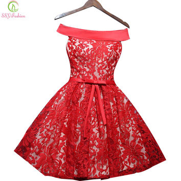 SSYFashion The Bride Married Red Lace Party Dress Short Sleeveless A-line Sexy Cocktail Dresses Custom Plus Size Formal Dresses