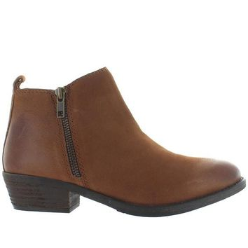 Chelsea Crew Rylee - Tan Distressed Leather Dual-Zip Bootie