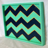 Mint and Navy Chevron Hand Painted Wooden Tray