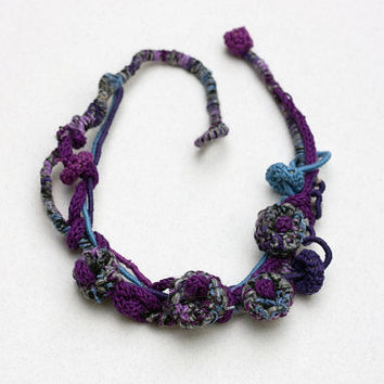 Mixed media rustic necklace in purple gray and blue Knit crochet statement jewelry with bamboo beads, OOAK