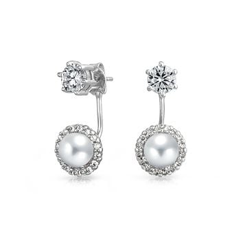 White Pearl Round Halo CZ Prom Ear Jacket Earrings Silver Plated