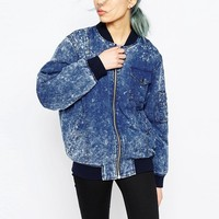 ASOS Bomber Jacket in Washed Denim Look