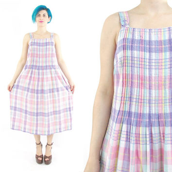 80s 90s Pastel Plaid Dress Summer Cotton Sun Dress Pleated Smock Dress Sleeveless Pockets Checkered Overalls Purple Pink Plaid Day Dress (S)