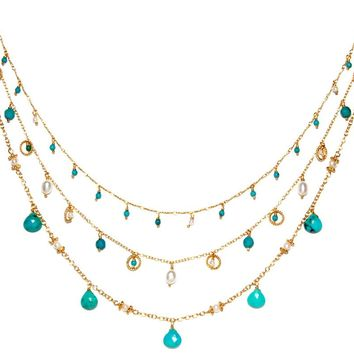Gold Over Sterling Silver Reconstituted Turquoise Freshwater Pearl Triple Strand Necklace