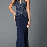 Navy Long High Neck Beaded Design Sheer Back Prom Dress