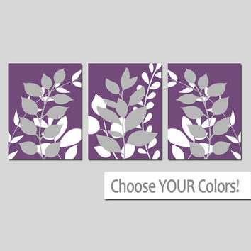 Purple Gray Wall Art, Bedroom Pictures, Leaves CANVAS or Prints Leaf Bathroom Artwork, Foliage Pictures, Flower Art, Set of 3 Home Decor