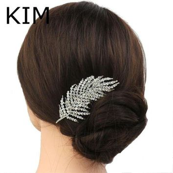 DCCKU62 New feather Shape Austria Crystal Wedding Handmade Shiny Bridal Hair Combs Jewelry vintage hair accessories