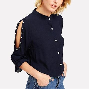 Spring Stand Collar Pearl Beading Navy Casual Button Up Blouse