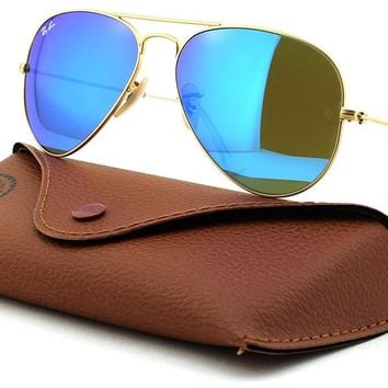 Cheap Ray-Ban RB3025 Aviator Large Metal Unisex Aviator Mirror Sunglasses Matte Blue outlet