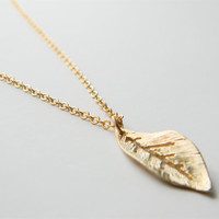 Gold Plated Leaf Pendant on 24inch Matte Gold Chain