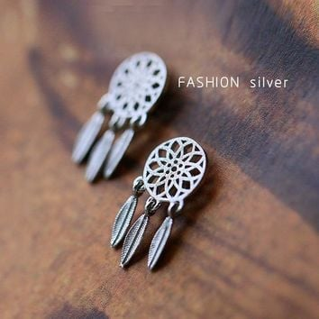 New Fashion Silver Bohemia Nationality Indian Feather Dream Catcher Dreamcatcher Stud Earrings For Women Jewelry High Quality