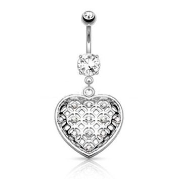 Sexy Belly Button Ring 316L Surgical Steel 14 Guage Navel Belly Button Ring Bar - Clear Rhinestone Silver Heart