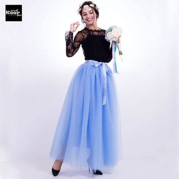 Summer Skirt 7 Layers 100cm Tulle Maxi Long Skirt American Apparel Lolita Tutu Skirts Womens Elastic Petticoat faldas saia jupe