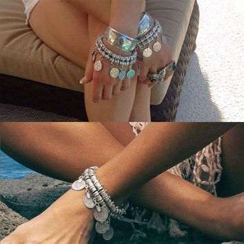 New Arrival Cute Sexy Stylish Ladies Gift Jewelry Shiny Vintage Punk Metal Tassels Bracelet Anklet [6050340673]