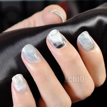 24Pcs Shiny Fake Nails Light Grey Marble False Nails DIY Nail Art Full Cover Tips Manicure Tools Z705