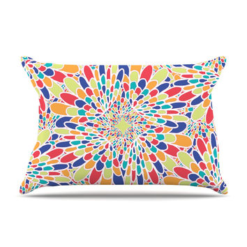 "Miranda Mol ""Flourishing Blue"" Multicolor Geometric Pillow Case"