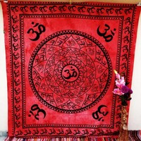 Om Aum Indian Auspicious Good Luck Charm Wall Hanging Dorm Decor Hippie Beach Blanket Tapestry
