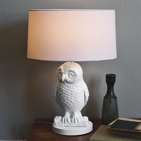Owl Table Lamp - White/White