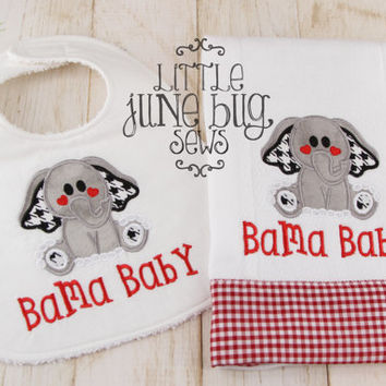 Alabama bib and burp cloth set, Alabama Baby gift set, Bama Baby Bib and Burp Cloth Gift Set, Elephant Bib and Burp Cloth Set