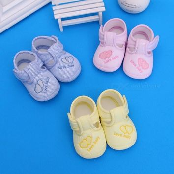 Heart Print Cute Cotton Fabric Baby Boys Girls First Walker Shoes Infant Toddler Soft Sole Breathable Baby Shoes Pink/11