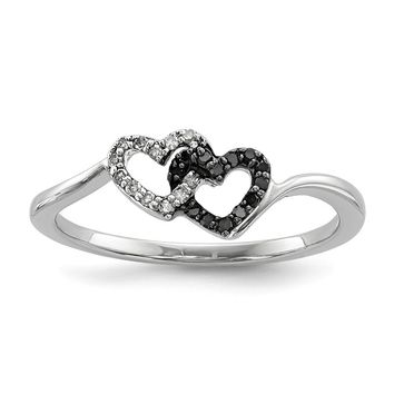 Sterling Silver Black And White Diamond 2 Heart Ring