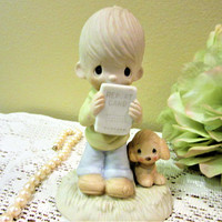 Precious Moments Figurine Boy Puppy Report Card God Understands Collector blm