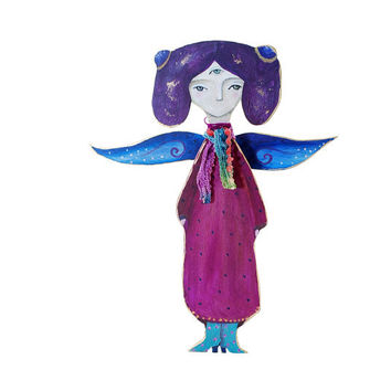 Raspberry reclaimed wood wall art - unusual three eyed girl angel - unusual whimsy wall art - burgundy and purple wall art - dreamy wall art