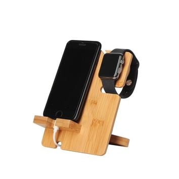 JackCubeDesign Bamboo iphone Apple Watch Charger dock Stand Multi Device Charging Station Organizer Holder for Smartphone Cellphone Mobile phone – :MK243A
