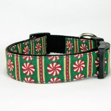Christmas Dog Collar-Peppermint Flower  Dog Collar with Flower set  (Mini,X-Small,Small,Medium ,Large or X-Large Size)- Adjustable