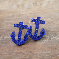 Blue Rhinestone Anchor Earrings - Blue Anchor Earrings - Anchors