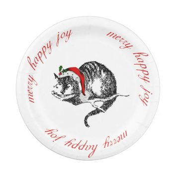 Cheshire Cat Christmas Paper Plate 7 Inch Paper Plate