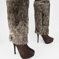 fur shaft platform boot $36.90 in BLACK BROWN - Boots | GoJane.com