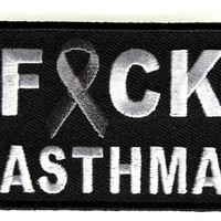"""Embroidered Iron On Patch - Fuck Asthma [Support Ribbon] 2.75"""" Patch"""