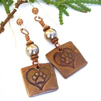 Dog Rescue Paw Prints and Hearts Earrings, Copper Swarovski Pearl Handmade Jewelry for Women