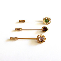 Vintage Stick Pin Set Gold Tone Hat Pins 1980s Faux Gemstone Stick Pins