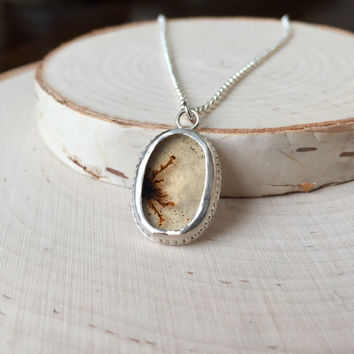 Stunning Dendritic Agate Gem, Bezel Pendant in .925 Sterling Silver with Rolo Chain, Handmade Silver Necklace, Gemstone Cabochon, OOAK, Gift
