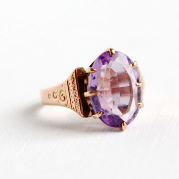 Antique Victorian 10k Rose Gold Rose de France Amethyst Ring - Size 6 3/4 1800s Large Purple Gemstone Fine Jewelry