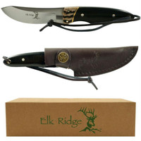 Elk Ridge Stainless Steel Hunting Knife w- Leather Sheath
